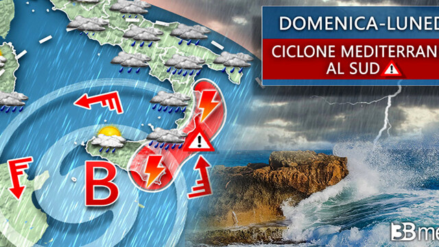 A Mediterranean cyclone also heads to Catania, with a strong wave of bad weather arriving thumbnail