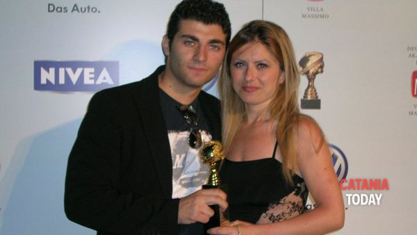 John Real e l'attrice protagonista del film Native, Giovanna Mandalari